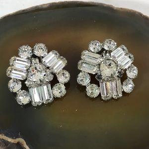 Vtg Weiss Crystal Cluster Clip Earrings NICE!